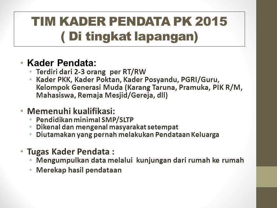 TIM KADER PENDATA PK 2015 ( Di tingkat lapangan)