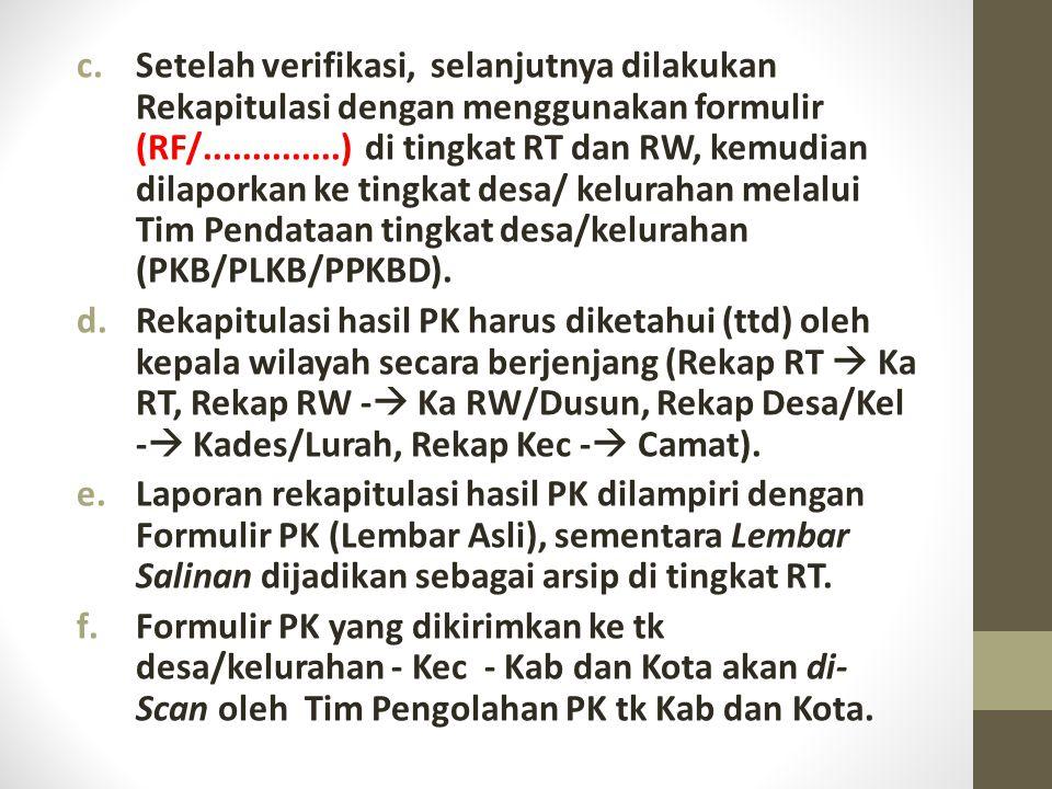 Setelah verifikasi, selanjutnya dilakukan Rekapitulasi dengan menggunakan formulir (RF/..............) di tingkat RT dan RW, kemudian dilaporkan ke tingkat desa/ kelurahan melalui Tim Pendataan tingkat desa/kelurahan (PKB/PLKB/PPKBD).