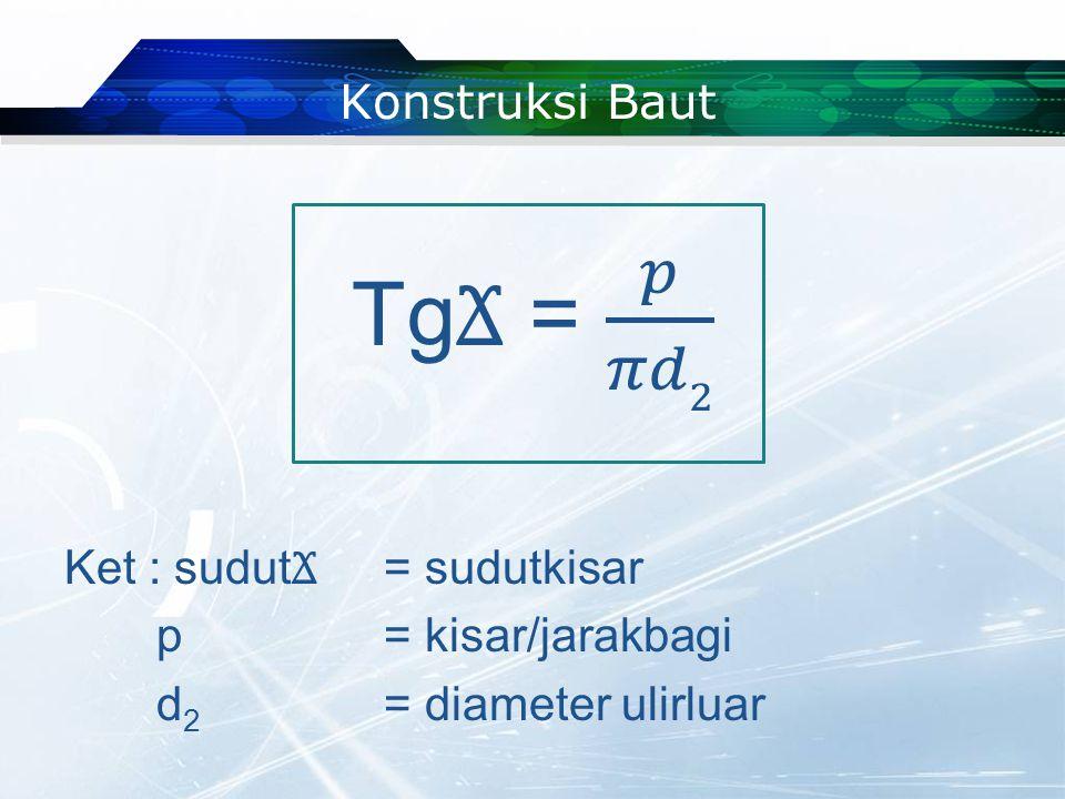 TgϪ = 𝑝 𝜋𝑑2 Konstruksi Baut Ket : sudutϪ = sudutkisar