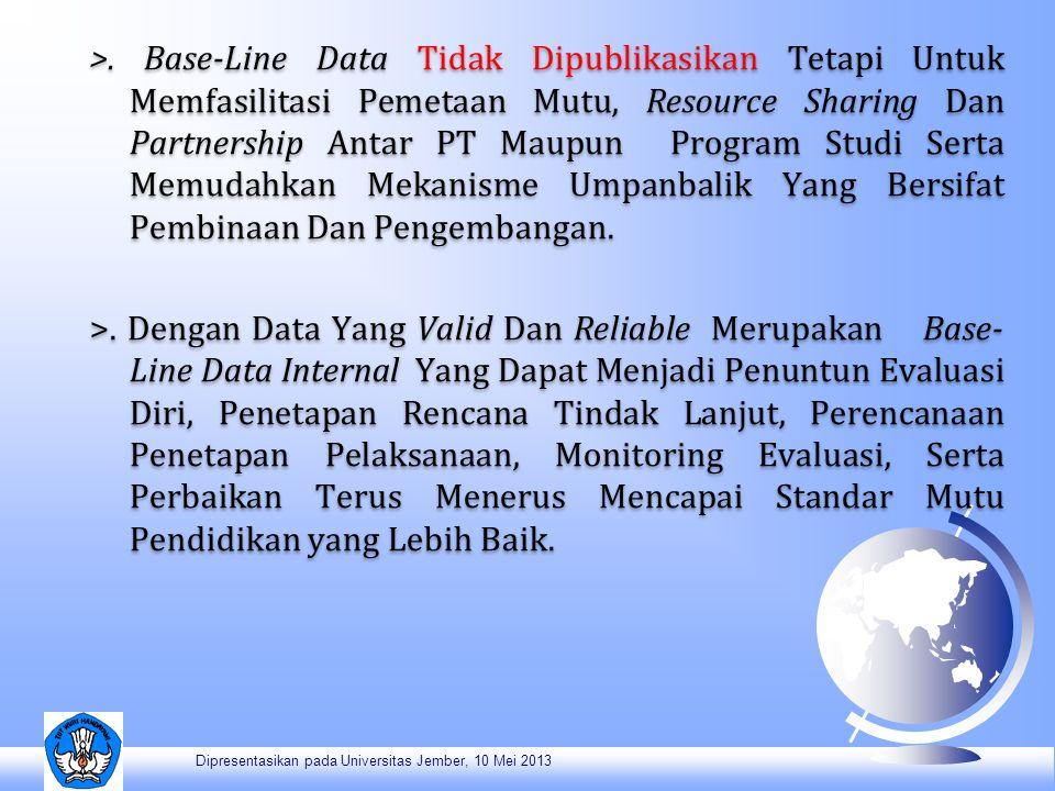 >. Base-Line Data Tidak Dipublikasikan Tetapi Untuk Memfasilitasi Pemetaan Mutu, Resource Sharing Dan Partnership Antar PT Maupun Program Studi Serta Memudahkan Mekanisme Umpanbalik Yang Bersifat Pembinaan Dan Pengembangan. >. Dengan Data Yang Valid Dan Reliable Merupakan Base-Line Data Internal Yang Dapat Menjadi Penuntun Evaluasi Diri, Penetapan Rencana Tindak Lanjut, Perencanaan Penetapan Pelaksanaan, Monitoring Evaluasi, Serta Perbaikan Terus Menerus Mencapai Standar Mutu Pendidikan yang Lebih Baik.