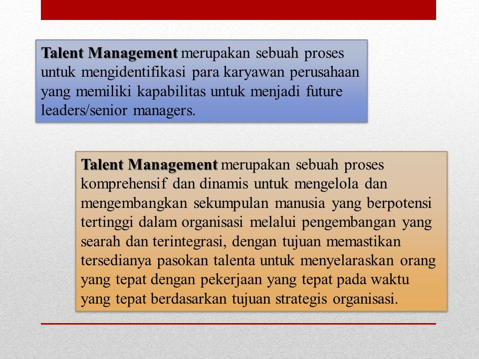Talent Management merupakan sebuah proses untuk mengidentifikasi para karyawan perusahaan yang memiliki kapabilitas untuk menjadi future leaders/senior managers.