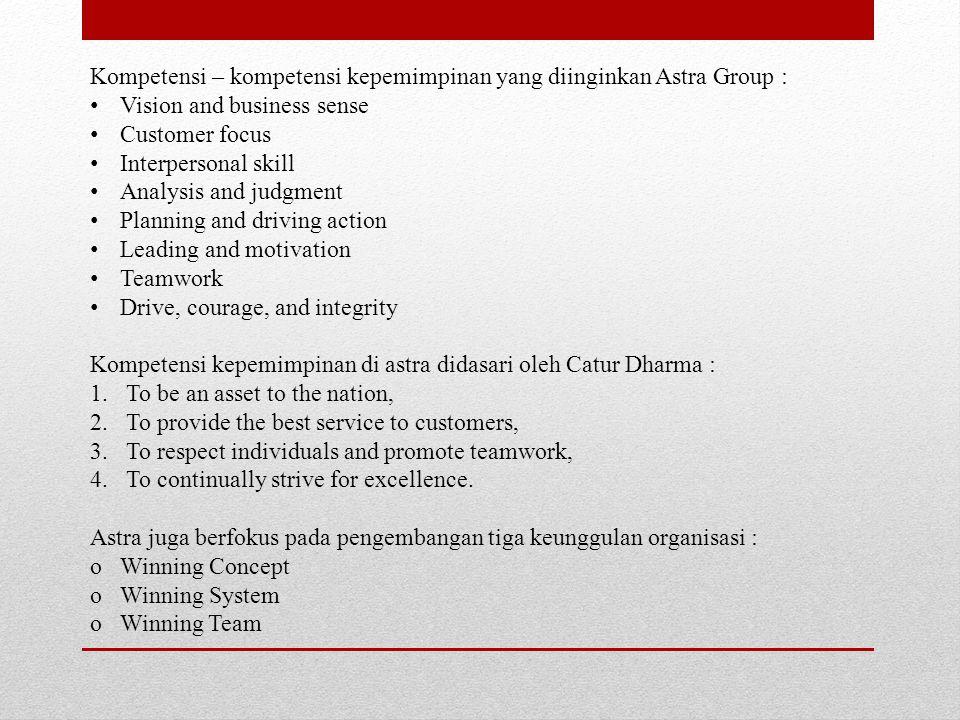 Kompetensi – kompetensi kepemimpinan yang diinginkan Astra Group :