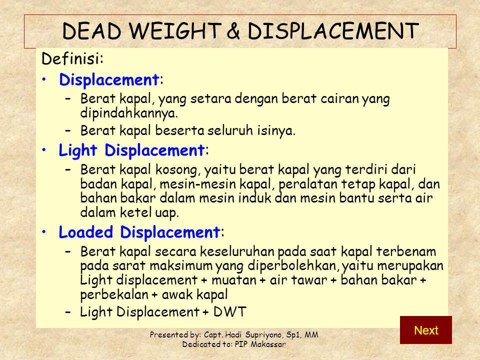 DEAD WEIGHT & DISPLACEMENT