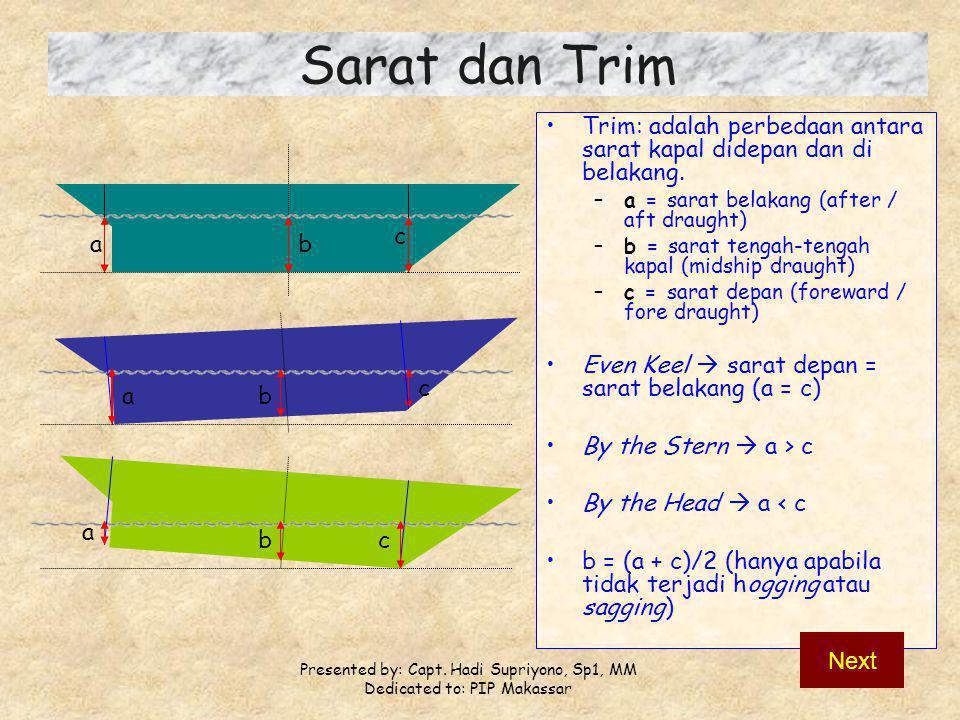 Sarat dan Trim Trim: adalah perbedaan antara sarat kapal didepan dan di belakang. a = sarat belakang (after / aft draught)