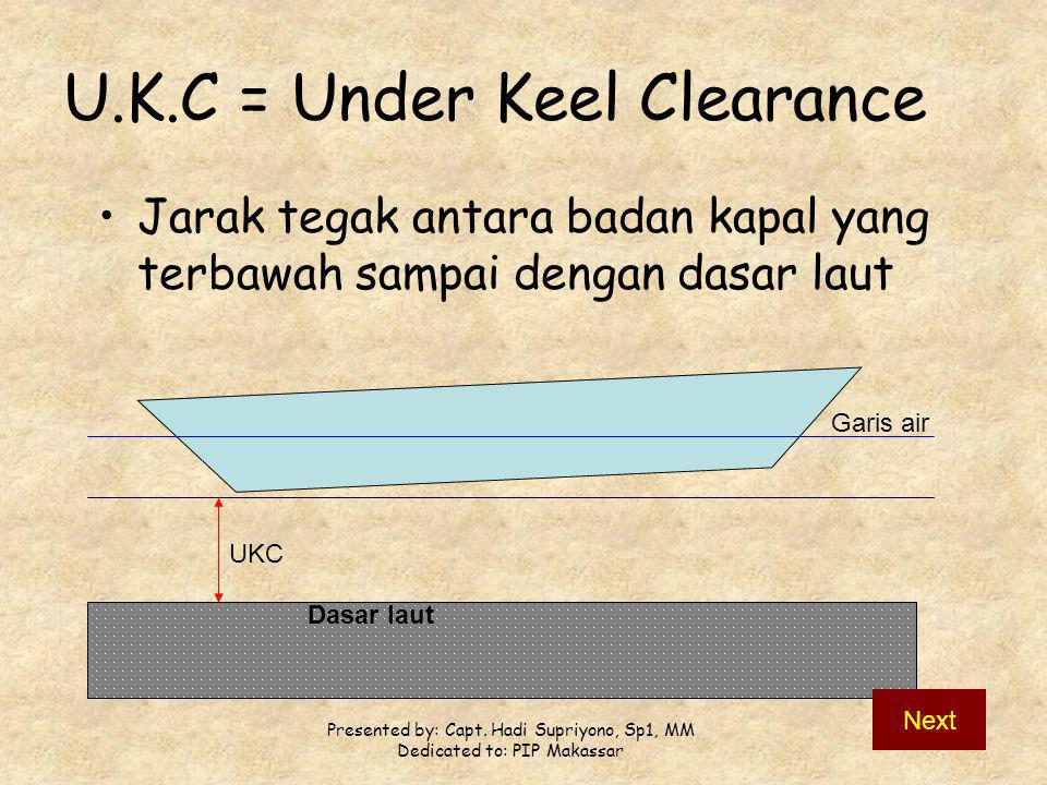 U.K.C = Under Keel Clearance