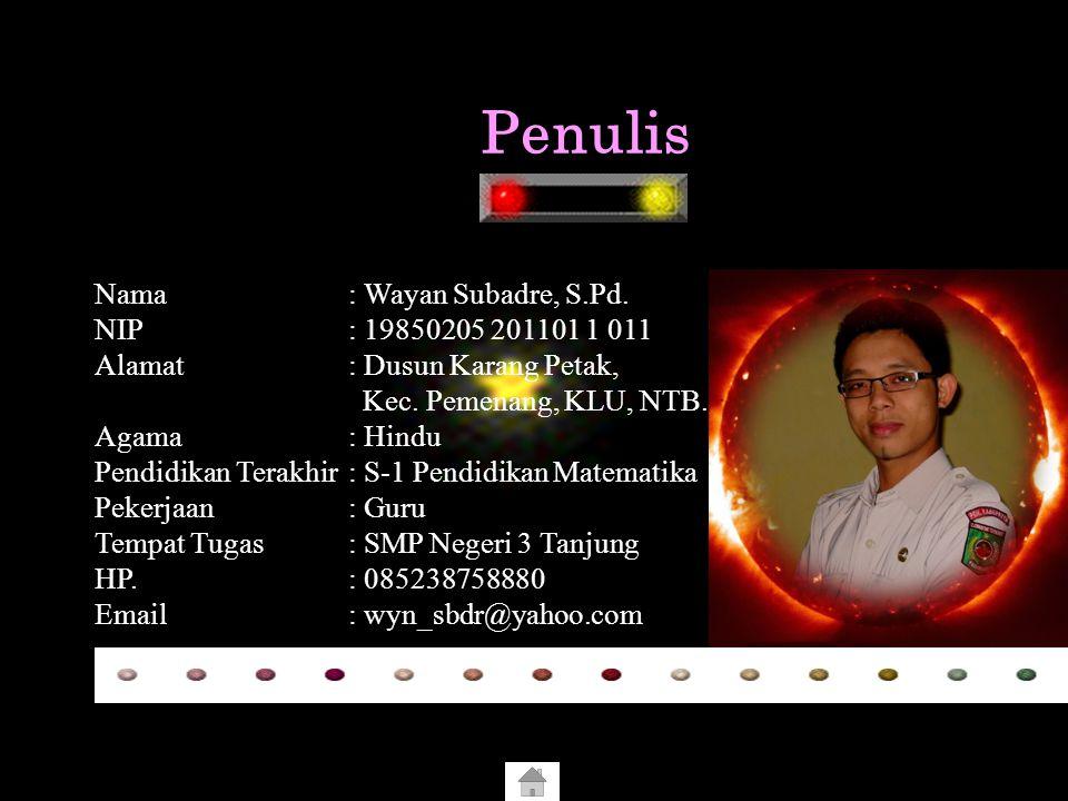Penulis Nama : Wayan Subadre, S.Pd. NIP : 19850205 201101 1 011