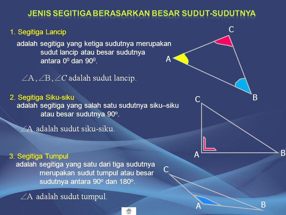 Jenis segitiga berasarkan besar sudut-sudutnya