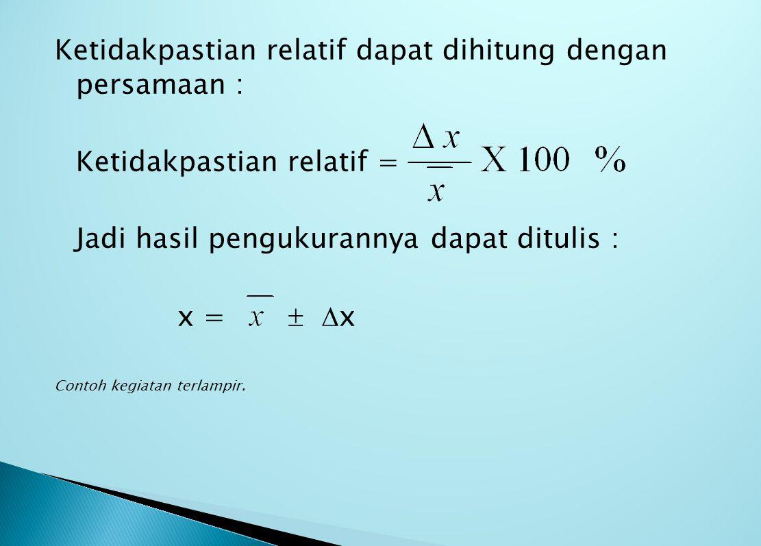Ketidakpastian relatif dapat dihitung dengan persamaan :