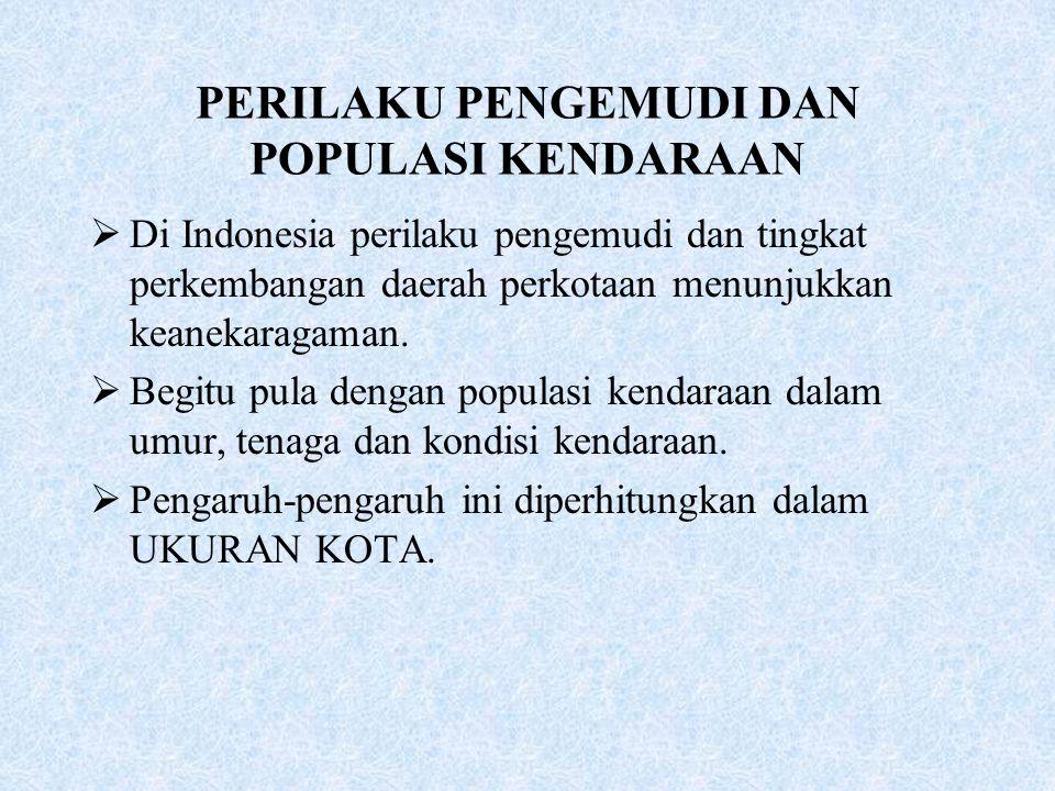 PERILAKU PENGEMUDI DAN POPULASI KENDARAAN
