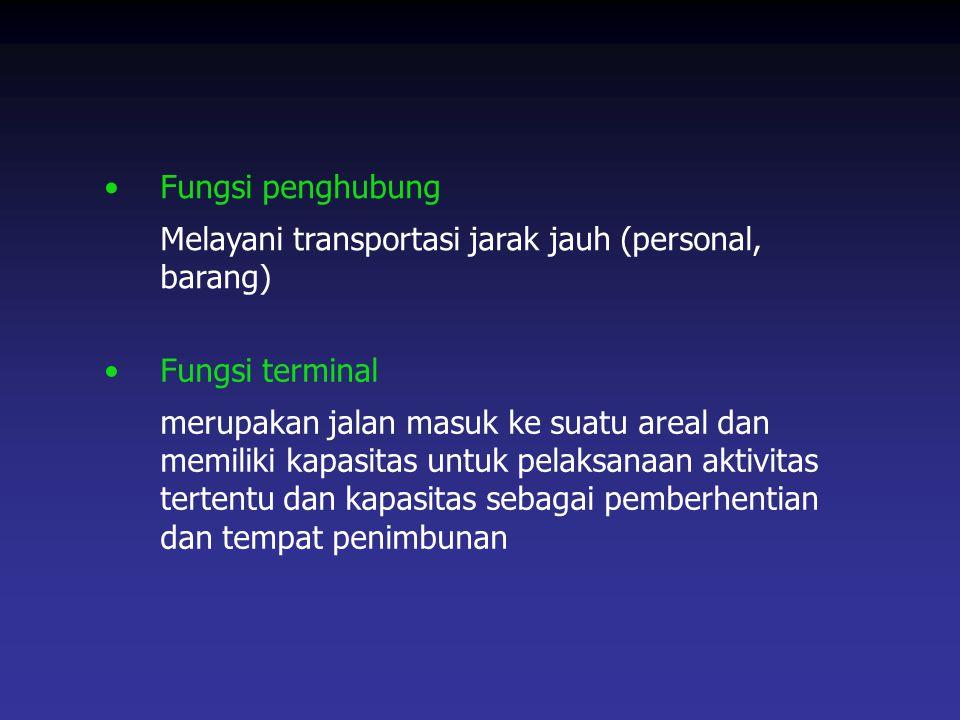 Fungsi penghubung Melayani transportasi jarak jauh (personal, barang) Fungsi terminal.