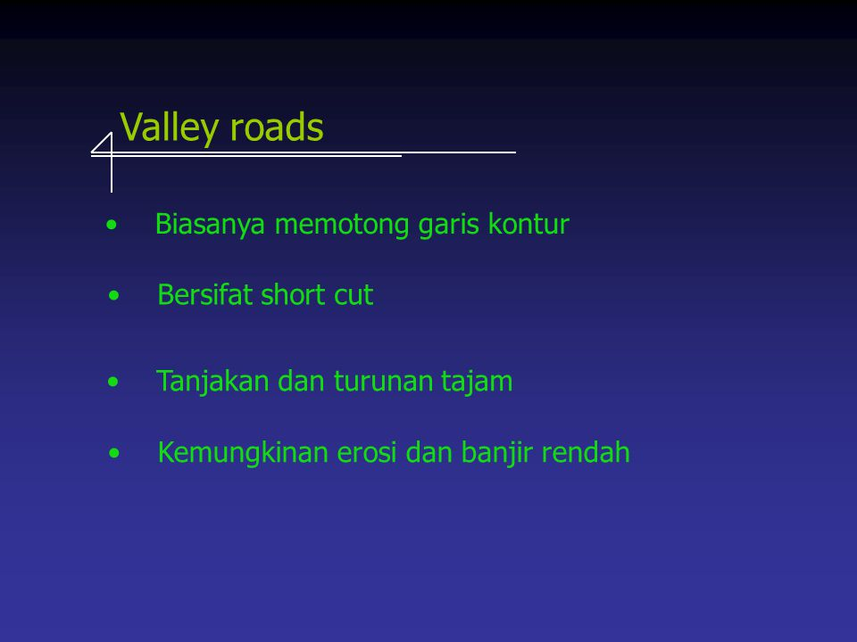 Valley roads Biasanya memotong garis kontur Bersifat short cut