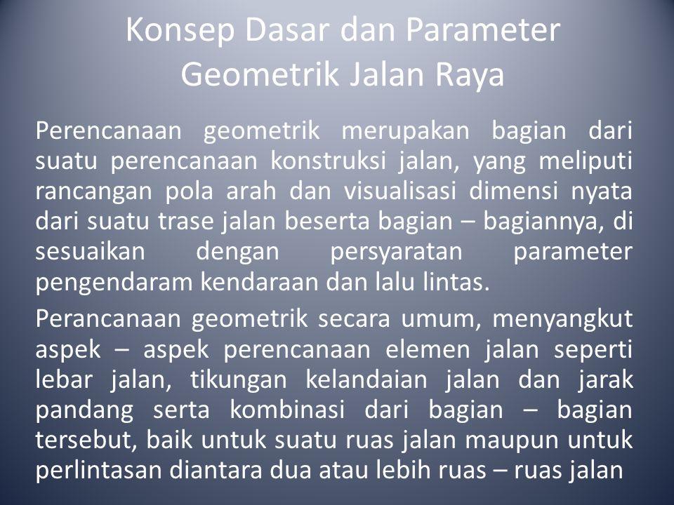 Konsep Dasar dan Parameter Geometrik Jalan Raya