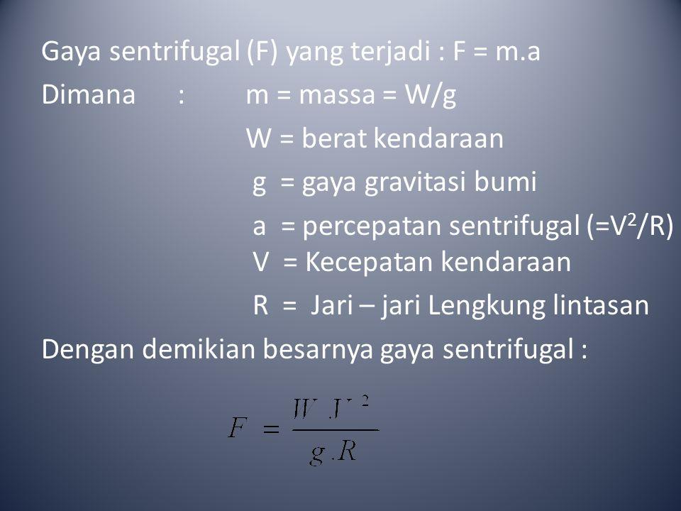 Gaya sentrifugal (F) yang terjadi : F = m
