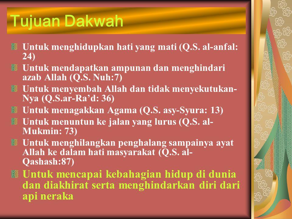 Tujuan Dakwah Untuk menghidupkan hati yang mati (Q.S. al-anfal: 24) Untuk mendapatkan ampunan dan menghindari azab Allah (Q.S. Nuh:7)