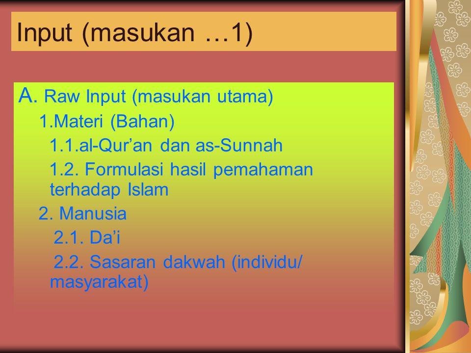Input (masukan …1) A. Raw Input (masukan utama) 1.Materi (Bahan)