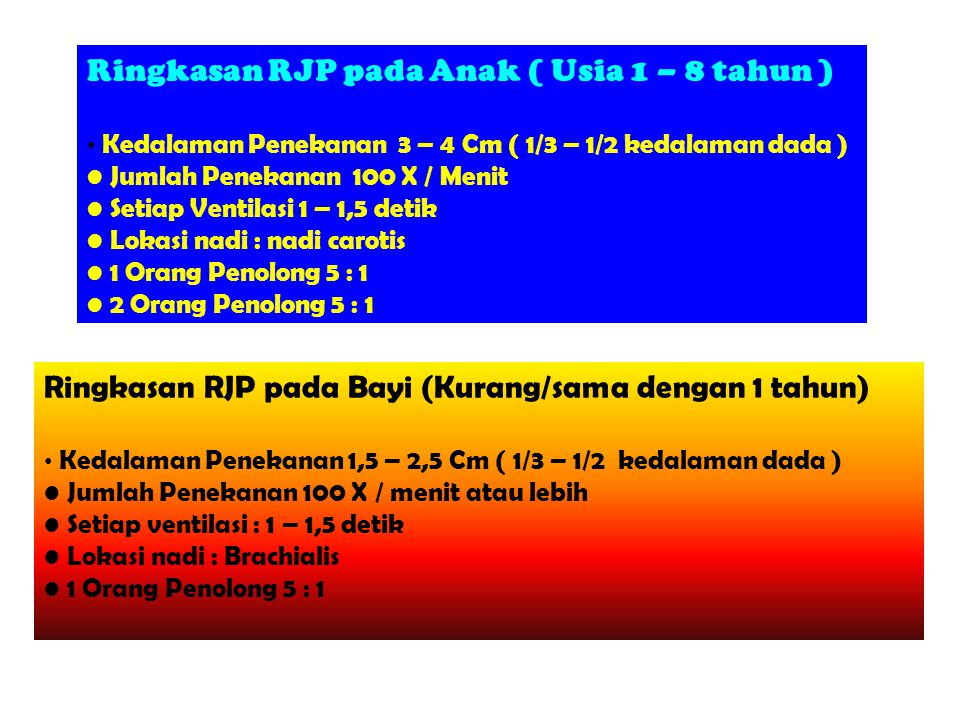 Ringkasan RJP pada Anak ( Usia 1 – 8 tahun )