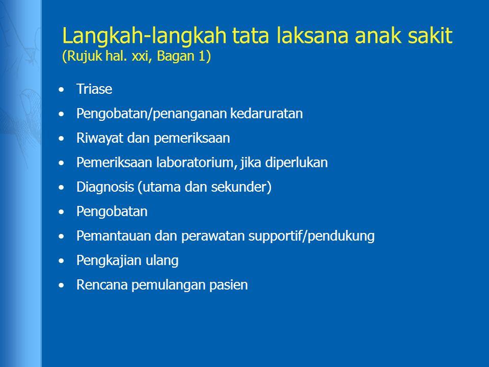 Langkah-langkah tata laksana anak sakit (Rujuk hal. xxi, Bagan 1)