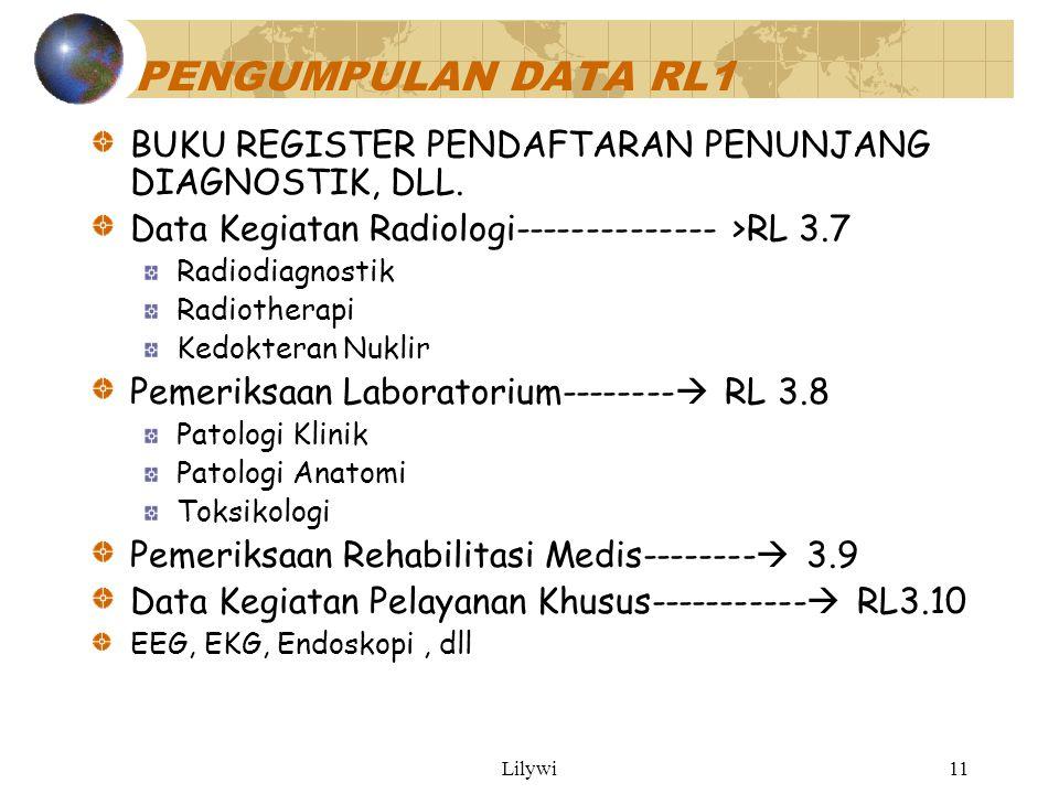PENGUMPULAN DATA RL1 BUKU REGISTER PENDAFTARAN PENUNJANG DIAGNOSTIK, DLL. Data Kegiatan Radiologi-------------- >RL 3.7.