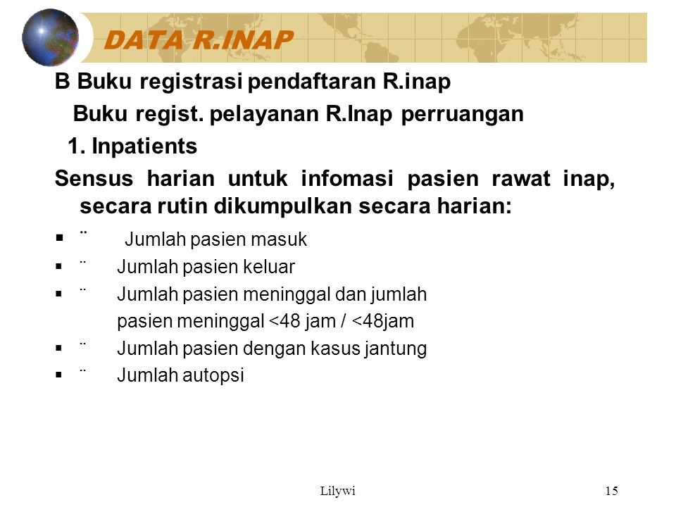 DATA R.INAP B Buku registrasi pendaftaran R.inap