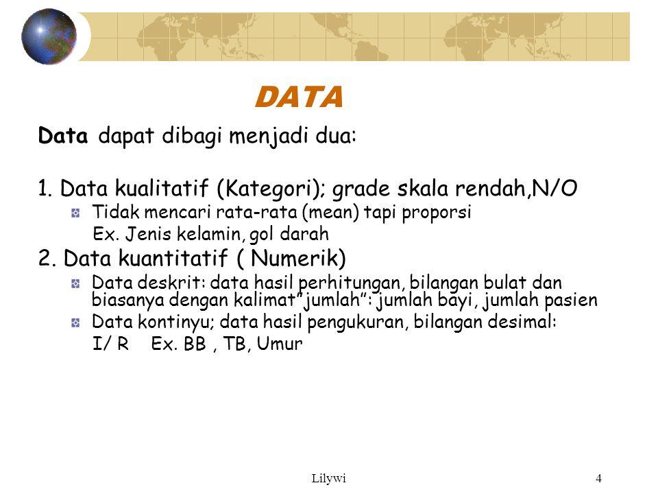 DATA Data dapat dibagi menjadi dua: