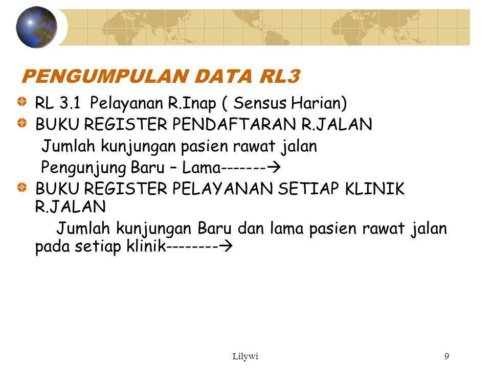 PENGUMPULAN DATA RL3 RL 3.1 Pelayanan R.Inap ( Sensus Harian)