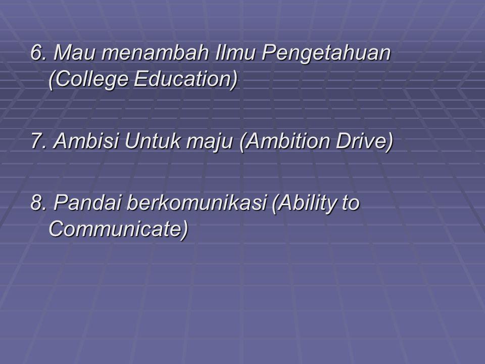 6. Mau menambah Ilmu Pengetahuan (College Education)
