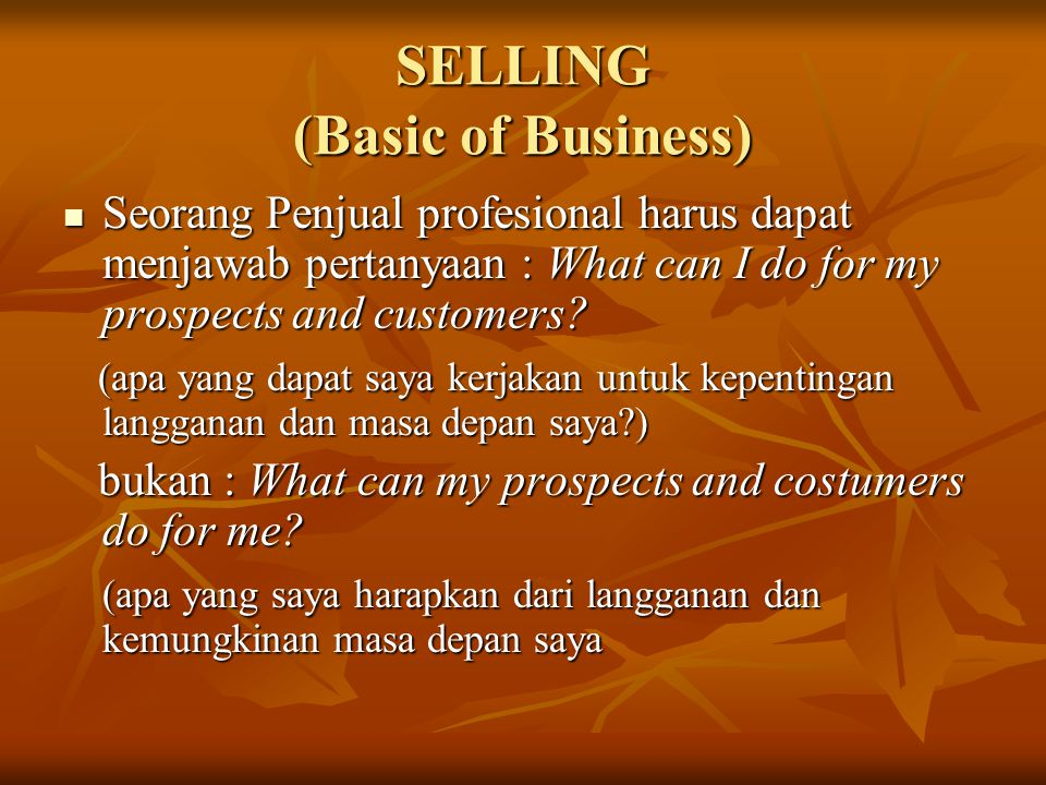 SELLING (Basic of Business)