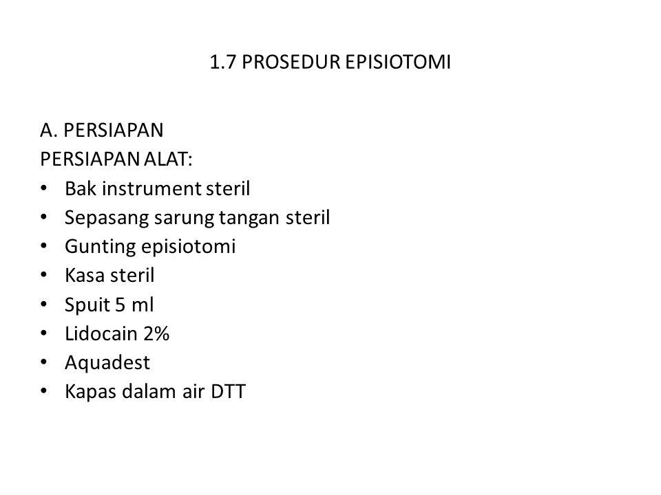1.7 PROSEDUR EPISIOTOMI A. PERSIAPAN. PERSIAPAN ALAT: Bak instrument steril. Sepasang sarung tangan steril.