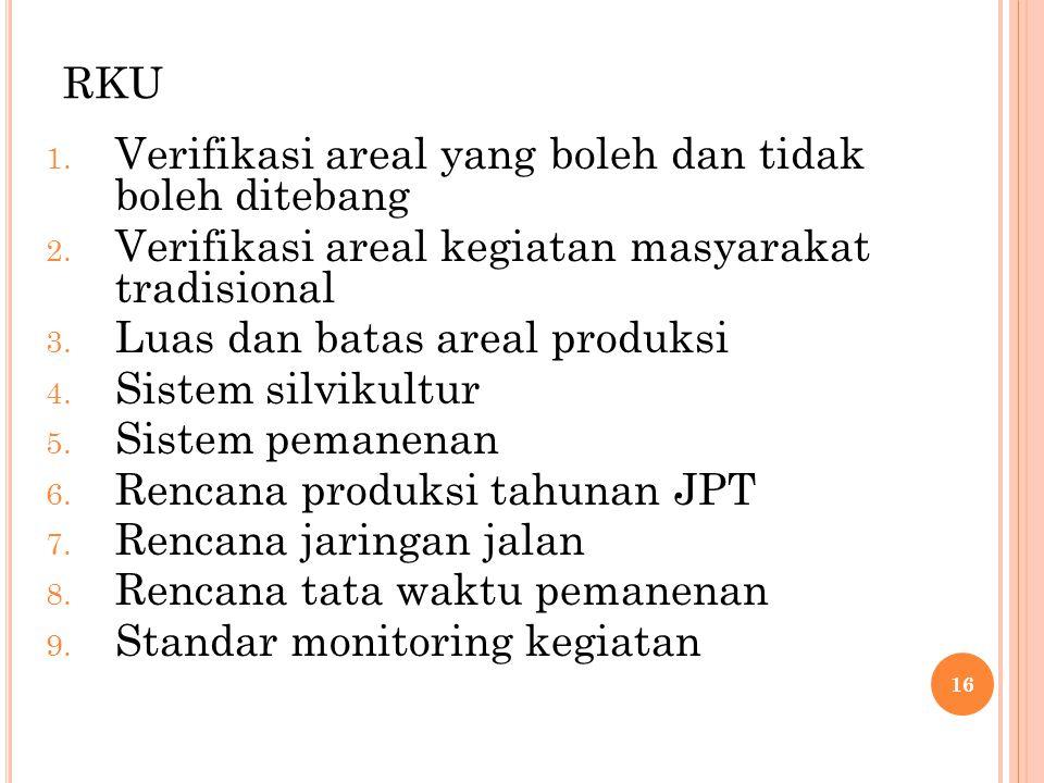 RKU Verifikasi areal yang boleh dan tidak boleh ditebang. Verifikasi areal kegiatan masyarakat tradisional.