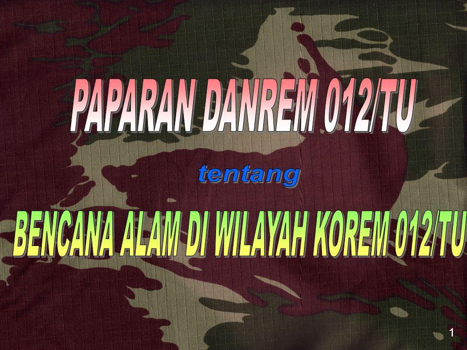 BENCANA ALAM DI WILAYAH KOREM 012/TU