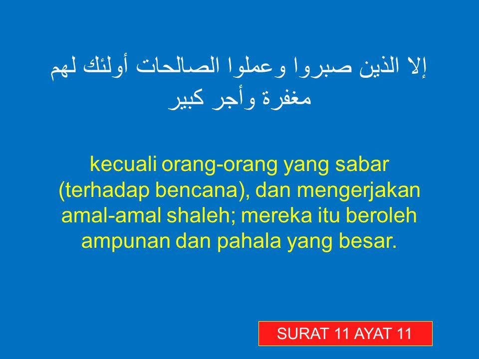 إلا الذين صبروا وعملوا الصالحات أولئك لهم مغفرة وأجر كبير