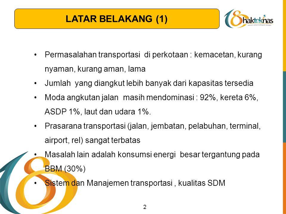 LATAR BELAKANG (1) Permasalahan transportasi di perkotaan : kemacetan, kurang nyaman, kurang aman, lama.