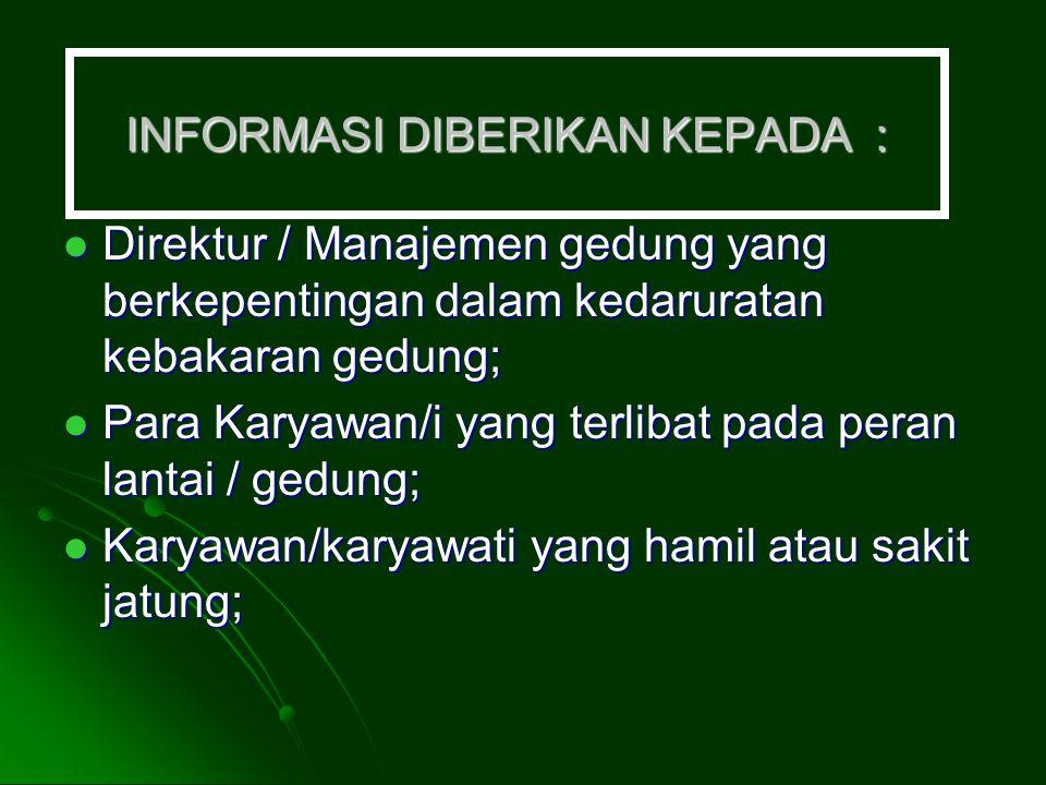 INFORMASI DIBERIKAN KEPADA :