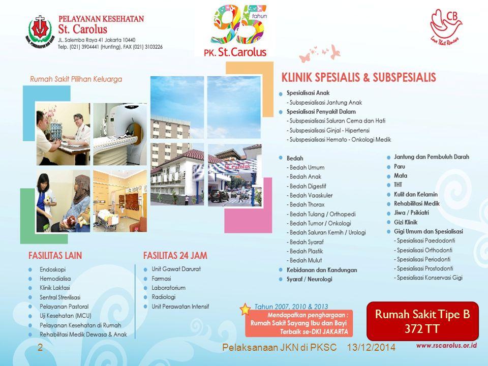 Rumah Sakit Tipe B 372 TT Pelaksanaan JKN di PKSC 07/04/2017