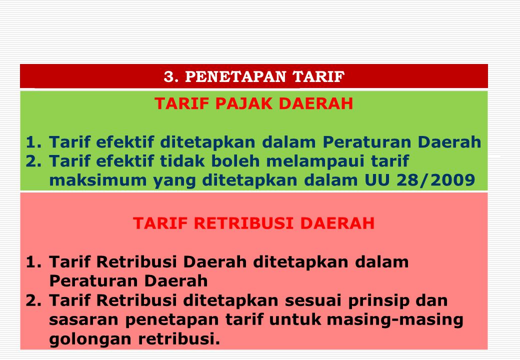 TARIF RETRIBUSI DAERAH