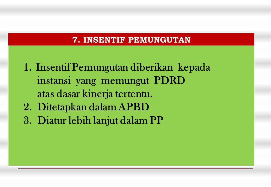 Insentif Pemungutan diberikan kepada instansi yang memungut PDRD