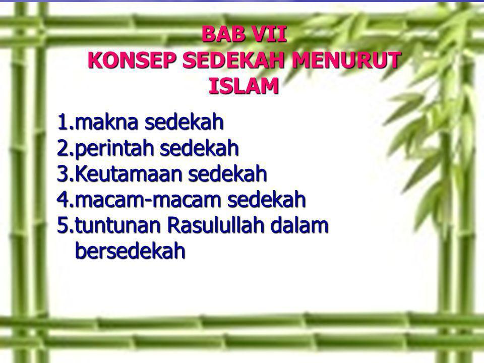 BAB VII KONSEP SEDEKAH MENURUT ISLAM