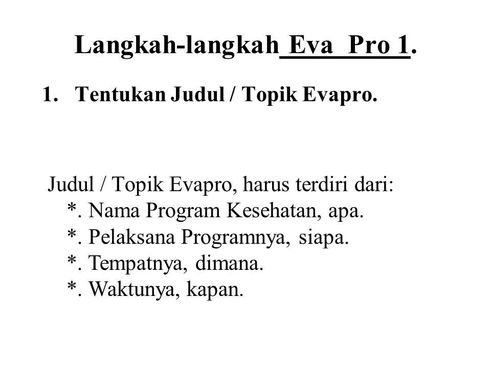 Langkah-langkah Eva Pro 1.