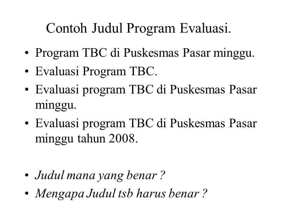 Contoh Judul Program Evaluasi.