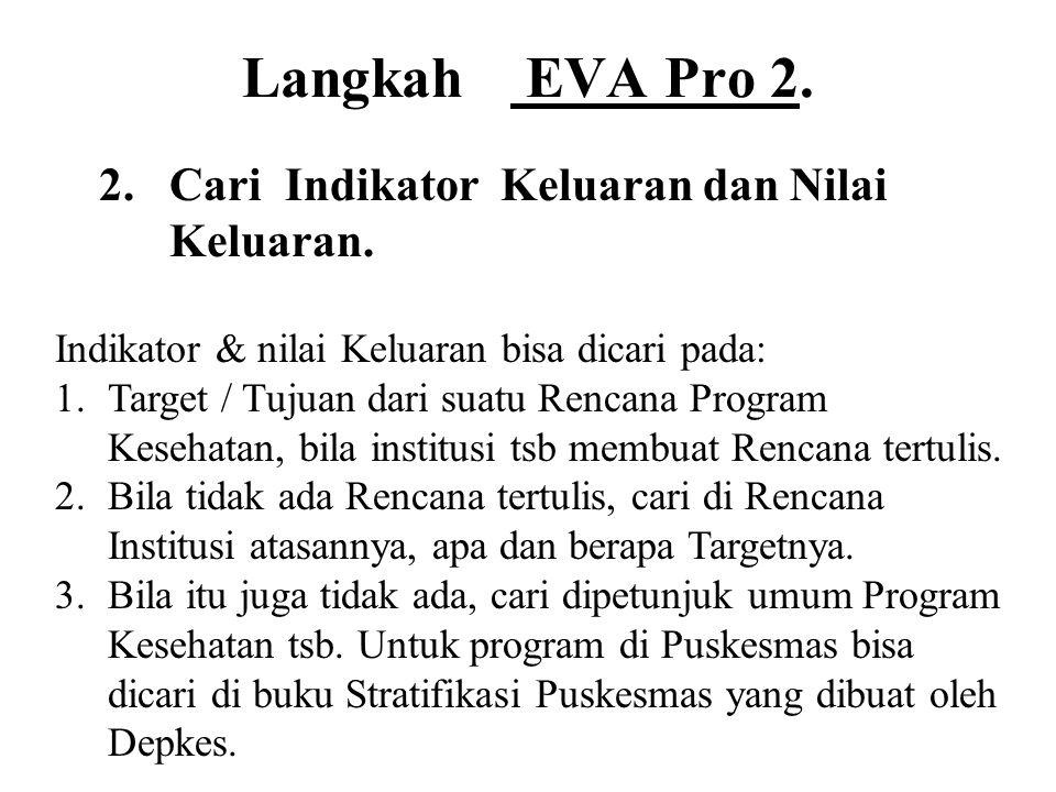 Langkah EVA Pro 2. 2. Cari Indikator Keluaran dan Nilai Keluaran.