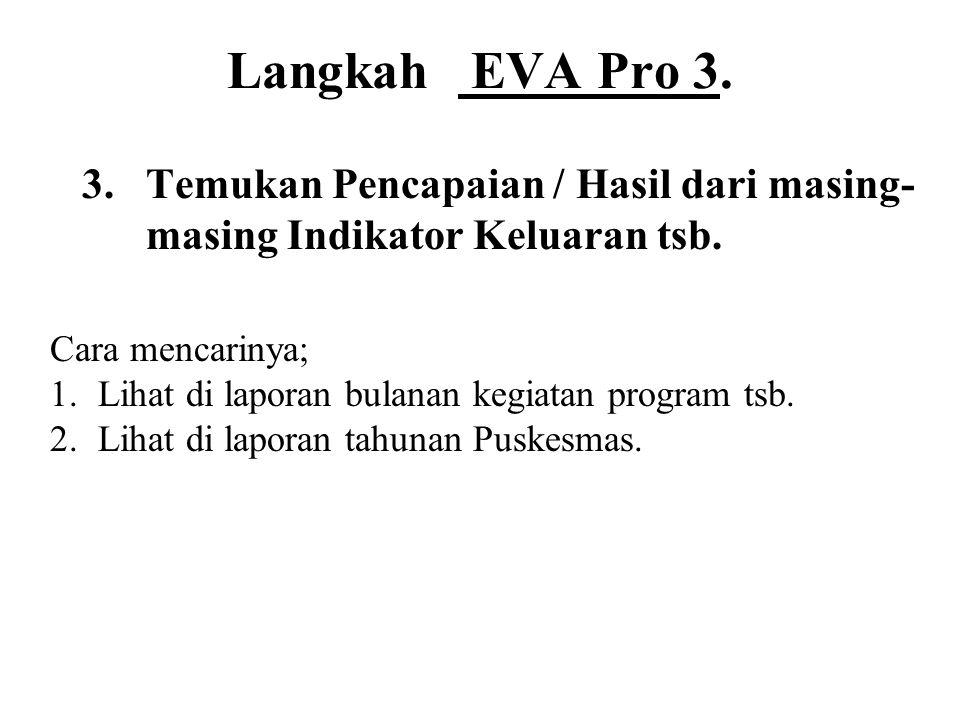 Langkah EVA Pro 3. 3. Temukan Pencapaian / Hasil dari masing-masing Indikator Keluaran tsb. Cara mencarinya;