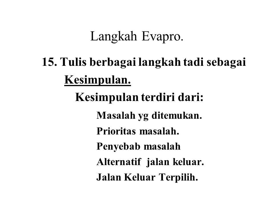 Langkah Evapro. 15. Tulis berbagai langkah tadi sebagai Kesimpulan.