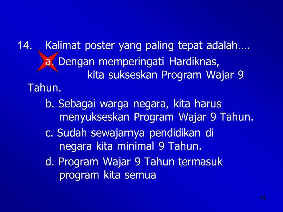 14. Kalimat poster yang paling tepat adalah….