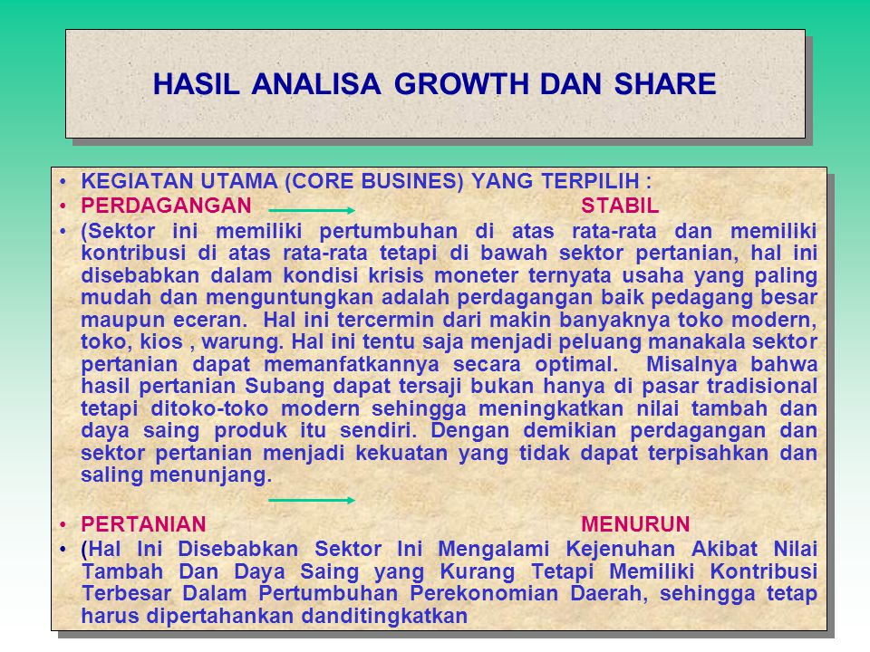 HASIL ANALISA GROWTH DAN SHARE