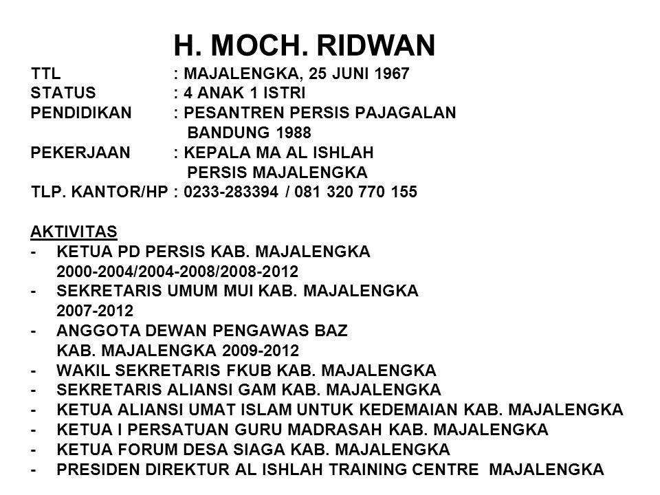H. MOCH. RIDWAN TTL. : MAJALENGKA, 25 JUNI 1967 STATUS