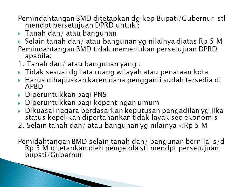 Pemindahtangan BMD ditetapkan dg kep Bupati/Gubernur stl mendpt persetujuan DPRD untuk :
