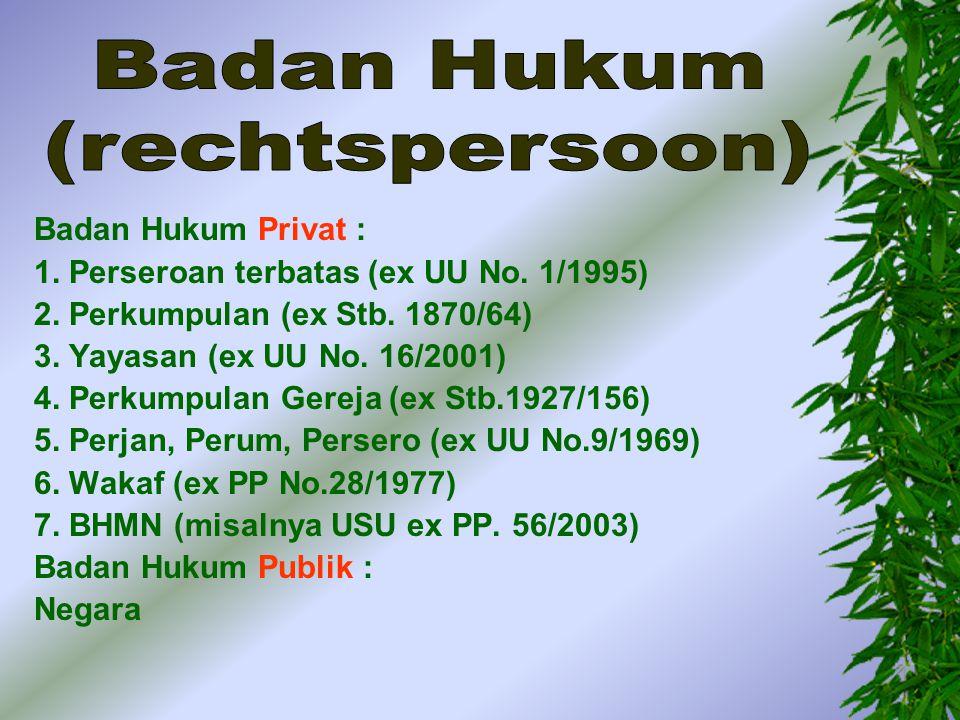 Badan Hukum (rechtspersoon) Badan Hukum Privat :