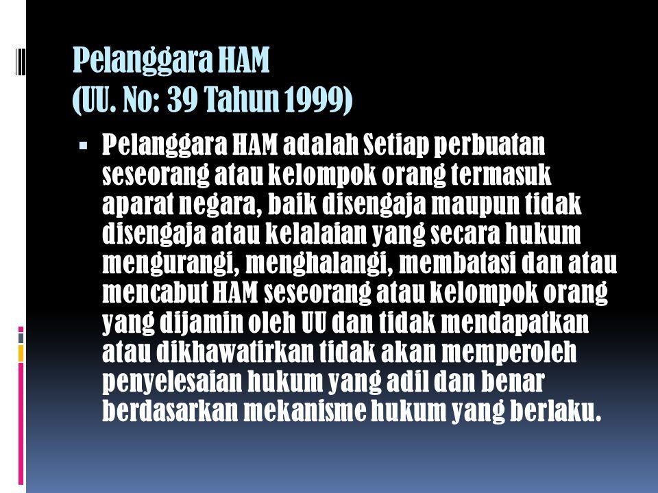 Pelanggara HAM (UU. No: 39 Tahun 1999)