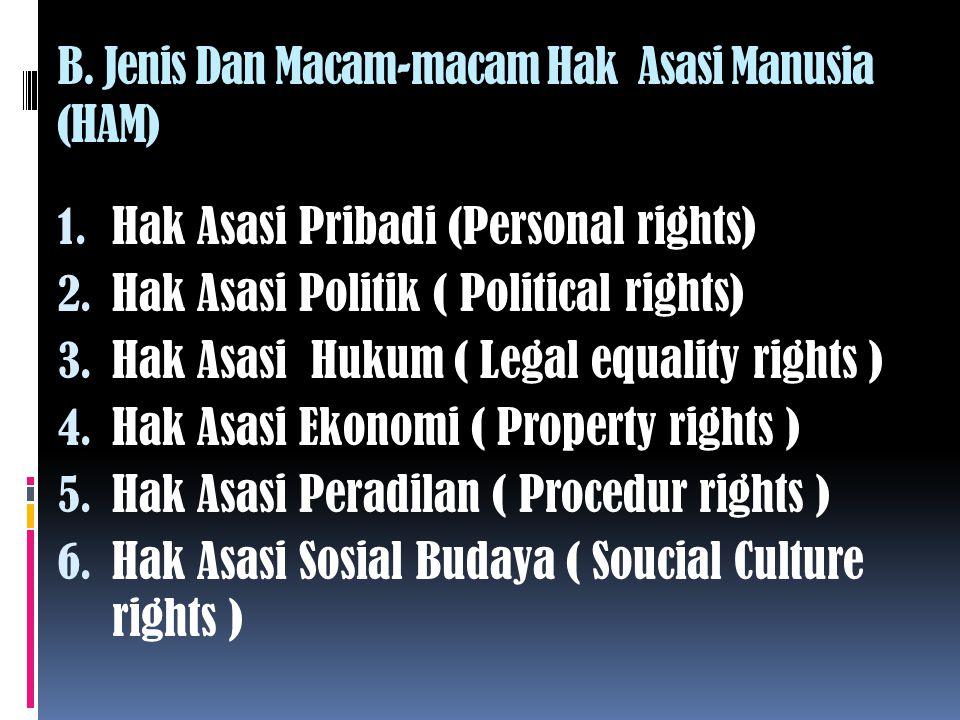 B. Jenis Dan Macam-macam Hak Asasi Manusia (HAM)