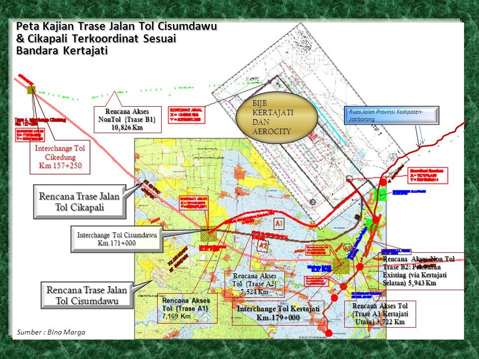 Peta Kajian Trase Jalan Tol Cisumdawu & Cikapali Terkoordinat Sesuai Bandara Kertajati